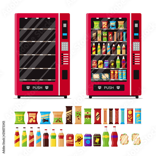 Empty and full vending machine with snacks and drinks isolated on white background. Automat with fast food snacks, drinks, nuts, chips, cracker, juice, sandwich. Flat illustration in vector