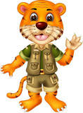 funny tiger cartoon standing with smile and waving on white background