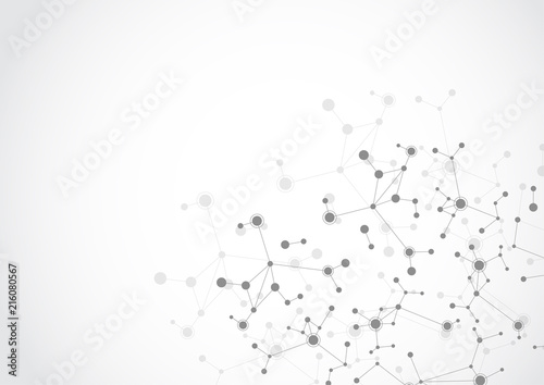 Molecular structure abstract tech background. Medical design. Vector illustration - 216080567