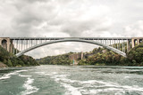 Panoramic view of Rainbow Bridge near Niagara Falls border america to canada