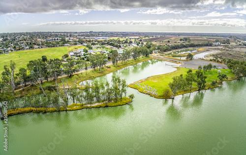 Foto Spatwand Olijf Murray River and Berri town in Riverland, South Australia - aerial panorama