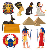 Cultural elements of ancient Egypt. Pharaoh and queen, sacred animals, Egyptian pyramids and people. Flat vector set - 216088979
