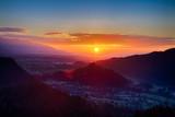 Sunrise in the Julian Alps in Slovenia