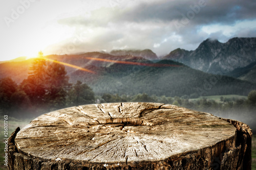 desk of free space and autumn landscape of mountains.  - 216101763