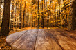 Leinwanddruck Bild - Table background and autumn forest