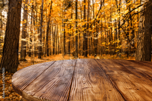 Leinwanddruck Bild Table background and autumn forest
