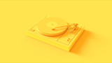 Yellow Vintage Turntable Record Player 3d illustration - 216104549