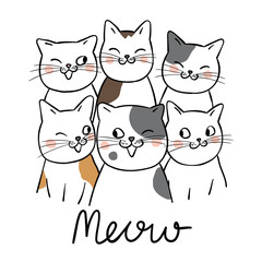 Draw portrait cute cat and word meow © anchalee