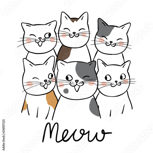 Draw portrait cute cat and word meow