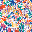 Bright tropical leaf seamless pattern. Vector illustration - 216107723