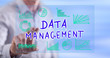Man touching a data management concept