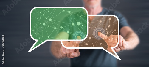 Man touching a communication network concept