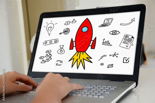 Start up concept on a laptop screen