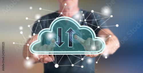 Foto Murales Man touching a cloud networking concept