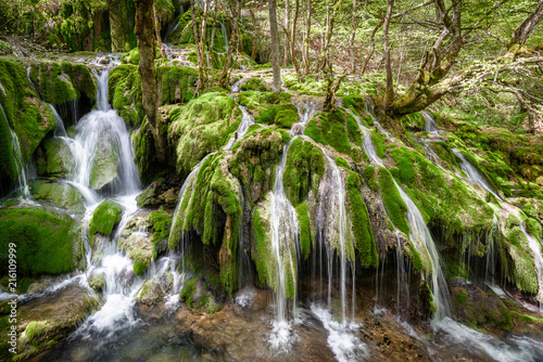 Toberia Waterfalls at Entzia mountain range, Alava, Spain - 216109999