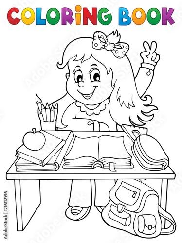 Canvas Voor kinderen Coloring book girl behind school desk