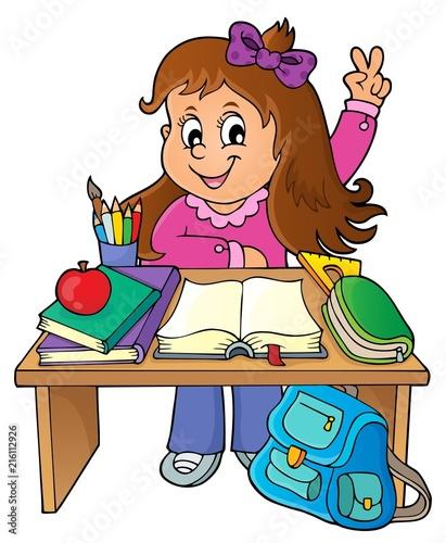 Canvas Voor kinderen Girl behind school desk theme image 1