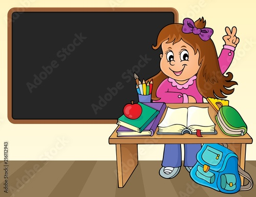 Canvas Voor kinderen Girl behind school desk theme image 2