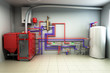 Hot water boiler Boiler room with a heating system 3d render