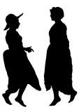 Women dancing folk dutch dances on white background - 216116146
