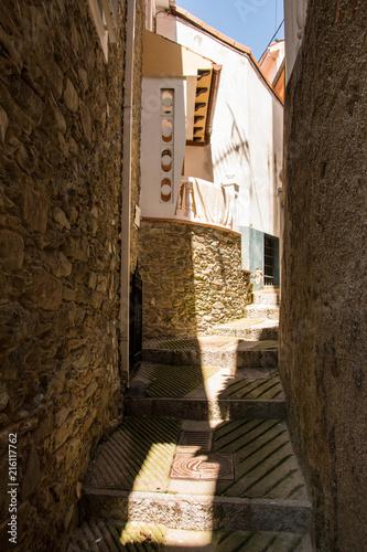 Aluminium Smalle straatjes Cudillero, Asturien, Spanien