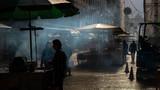 Street in Lisbon, cooking in street