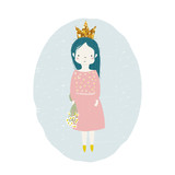 Cute little princess with gold glitter crown and camomile bouquet. Vector hand drawn illustration.