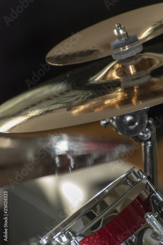 Part of a drum set in close up. Crash cymbal, splash cymbal and drum. - 216126323