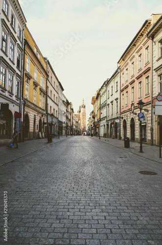 Foto Spatwand Krakau Street view of Krakow