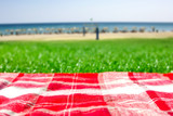 Summer photo of empty blanket on grass and free space for your decoration.