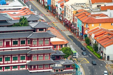 Cityscape of Singapore Chinatown district
