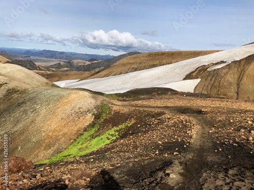 Foto Spatwand Blauwe hemel Landmannalaugar