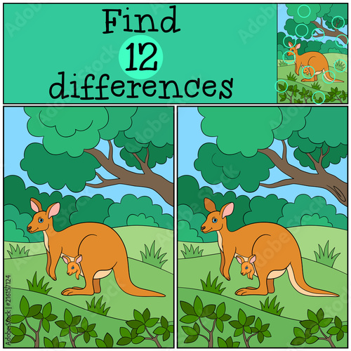Plexiglas Zoo Educational game: Find differences. Mother kangaroo with her baby.
