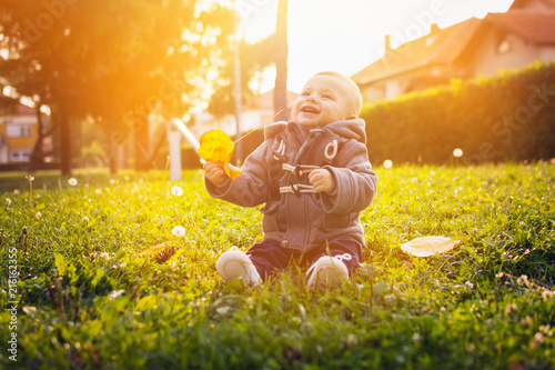 Baby sitting in park holding a leaf on sunny autumn day. Cute little child playing and enjoying outdoors on sunny fall day.