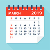March 2019 Calendar Leaf - Vector Illustration - 216171139