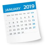 January 2019 Calendar Leaf - Vector Illustration - 216171971