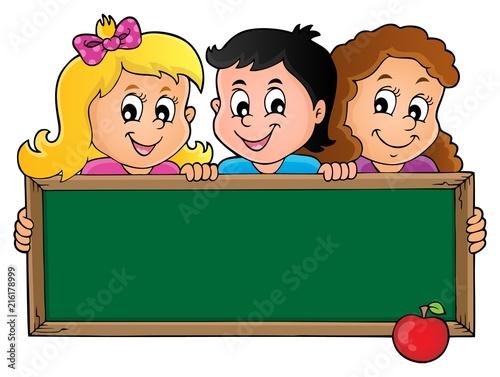 Canvas Voor kinderen Children holding schoolboard theme 1