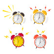 Flat design. Vector icon isolated on background. Cartoon alarm clock ringing. Wake up morning concept. - 216179131