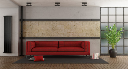 Red sofa in old room © archideaphoto