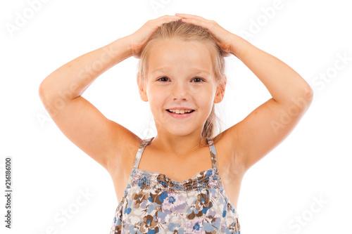 Leinwandbild Motiv Beautiful blonde little girl