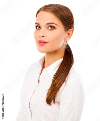 Leinwandbild Motiv Business portrait. Close up portrait of a young blonde woman in shirt