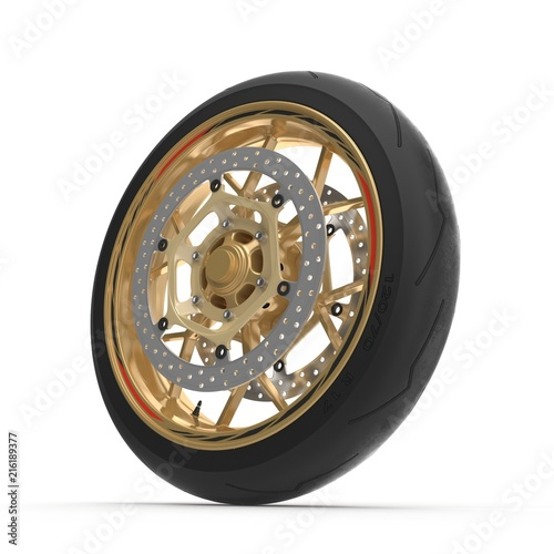 Sport Motorcycle Front Wheel on white. 3D illustration