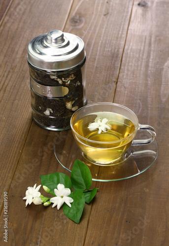 homemade jasmine tea and arabian jasmine flower