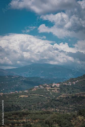Foto Spatwand Groen blauw Village in greece