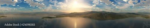 Fotobehang Grijze traf. Panorama of the bay at sunset. Sea sunset.