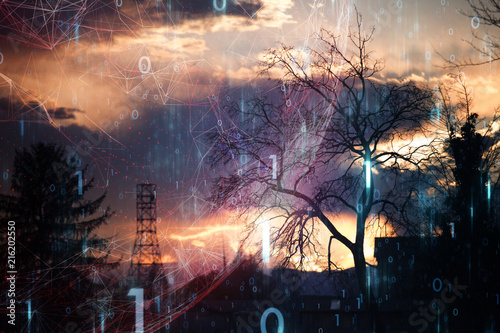 Artificial intelligence city landscape with trees, lines, dots and binary numbers background.