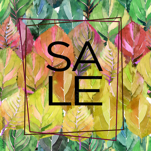 Foto Spatwand Graffiti Beautiful lovely cute graphic bright floral herbal autumn green yellow red autumn leaves like a rainbow background card with lettering sale