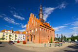 Town hall and market square in Morag, Poland - 216206732
