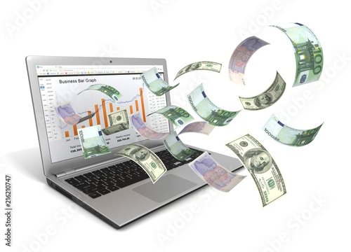 make money online with laptop concept - 216210747