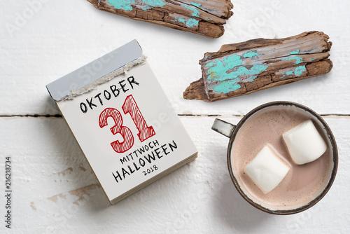 Leinwandbild Motiv Abreißkalender mit Datum von Halloween 2018
